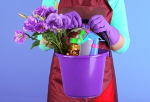 Housewife holding bucket with cleaning equipment on color backgr